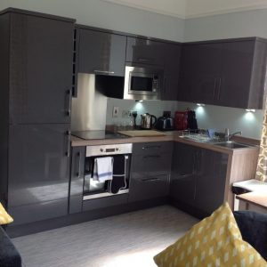 Apartment Three's brand new kitchen has everything you need for a self catering break